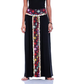 Bedouin Black Viscose Skirt With Vintage Coins handmade in Egypt and available at Jozee Boutique