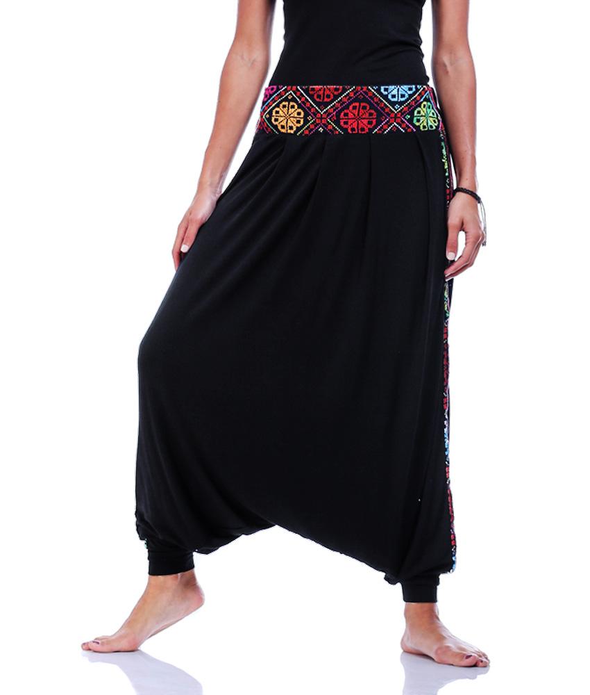 Black Viscose Harem Pants - Bedouin Embroideries - Jozee ...