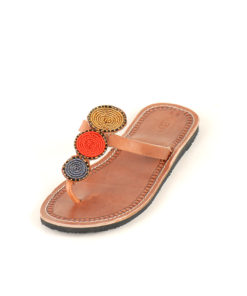 Orange, Blue & Gold Beaded Handmade Kenyan Sandals Handmade in Kenya available in Jozee boutique