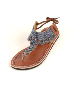 Blue Beaded Handmade Kenyan Sandals Handmade in Kenya available in Jozee boutique