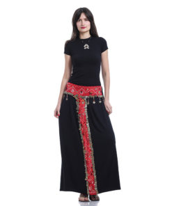 Bedouin Black Viscose Skirt With Vintage Coins