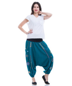 Turquoise Saint Catherine embroidered harem pants handmade in Egypt & available at Jozee boutique