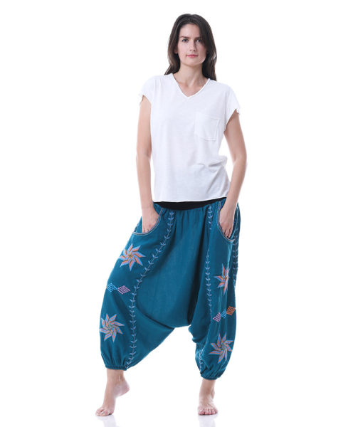 Turquoise Saint Catherine Embroidered Harem Pants