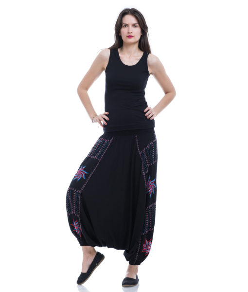 Black Saint Catherine Embroidered Harem Pants handmade in Egypt and available at Jozee Boutique