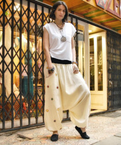 Off white Saint Catherine embroidered harem pants handmade in Egypt & available at Jozee boutique
