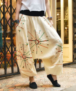 Off White Siwa embroidered harem pants handmade in Egypt & available at Jozee boutique