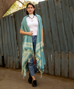 Blue Handwoven Egyptian Cotton Cardigan handmade in Egypt and available at Jozee Boutique.