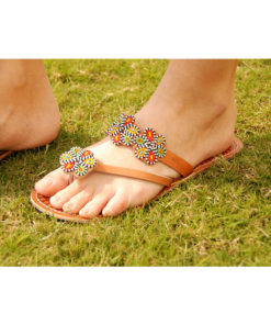 Multicolored Beads Handmade Kenyan Slippers Handmade in Kenya available in Jozee boutique