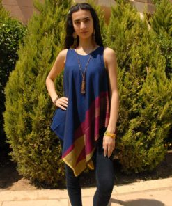 Blue & Multicolored Handwoven Egyptian Cotton Fringe Top Handmade in Egypt & available in Jozee boutique