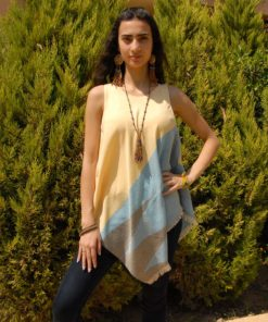 Yellow & Blue Handwoven Egyptian Cotton Fringe Top Handmade in Egypt & available in Jozee boutique