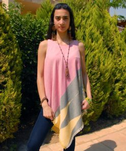 Pink & Multicolored Handwoven Egyptian Cotton Fringe Top Handmade in Egypt & available in Jozee boutique