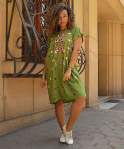 Apple Green Siwa Embroidered Short Linen Dress handmade in Egypt and available at Jozee Boutique