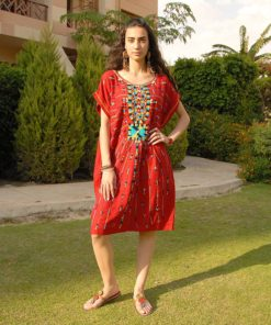 Red Siwa Embroidered Short Linen Dress Handmade in Egypt & available in Jozee boutique