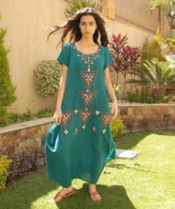 Turquoise Siwa embroidered linen dress handmade in Egypt & available at Jozee boutique