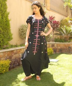 Black Siwa Embroidered Linen Dress Handmade in Egypt & available in Jozee boutique