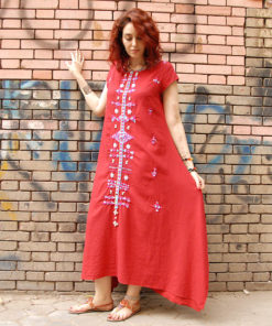 Red Siwa embroidered linen dress handmade in Egypt & available at Jozee boutique