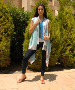 Baby Blue Handwoven Egyptian Cotton Short Cardigan Handmade in Egypt & available in Jozee boutique
