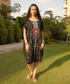 Black Siwa Embroidered Short Linen Dress Handmade in Egypt & available in Jozee boutique