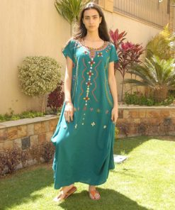 Turquoise Siwa Embroidered Linen Dress Handmade in Egypt & available in Jozee boutique