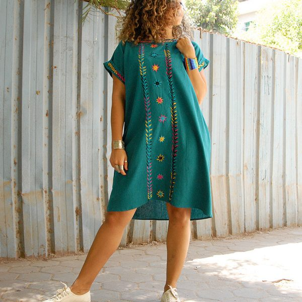69ced80d4a Turquoise Saint Catherine Embroidered Short Linen Dress handmade in Egypt  and available at Jozee Boutique