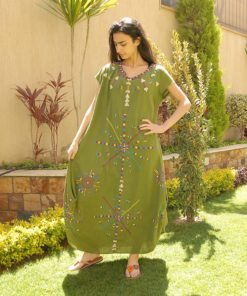 Apple green Siwa embroidered linen dress handmade in Egypt & available at Jozee boutique