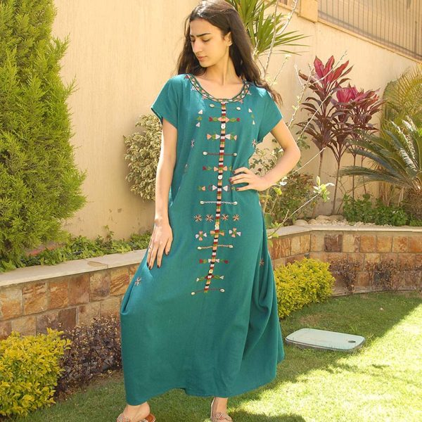 4b80275dca Turquoise Siwa Embroidered Linen Dress Handmade in Egypt   available in  Jozee boutique