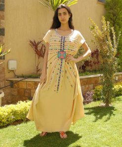 Light Beige Siwa embroidered linen dress handmade in Egypt & available at Jozee boutique