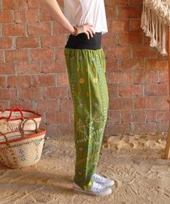 Apple green Saint Catherine embroidered harem pants handmade in Egypt & available at Jozee boutique