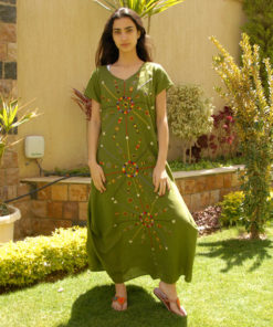 Apple Green Siwa Embroidered Linen Dress Handmade in Egypt & available in Jozee boutique