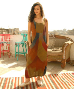 Multicolored Handwoven Sleeveless Dress Handmade in Egypt & available in Jozee Boutique