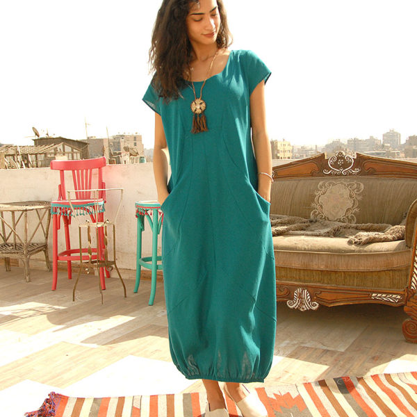 790e3a9367c Turquoise Linen Dress - Short Sleeves Handmade in Egypt   available in  Jozee Boutique