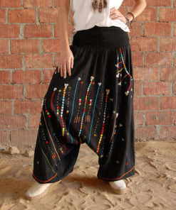 Black Siwa Embroidered Harem Pants handmade in Egypt and available in Jozee Boutique
