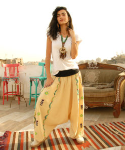 Beige Saint Catherine embroidered harem pants handmade in Egypt & available at Jozee boutique