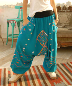 Turquoise Siwa embroidered harem pants handmade in Egypt & available at Jozee boutique