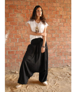Black Linen harem pants handmade in Egypt & available at Jozee boutique