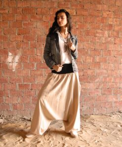 Beige Linen Harem Pants handmade in Egypt & available at Jozee boutique