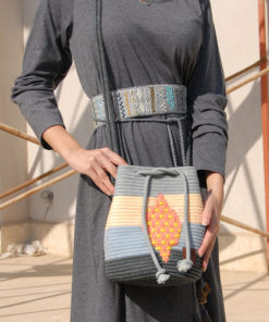 Grey and Blue Medium Handmade Cross-Body Bag made in Egypt & available in Jozee boutique