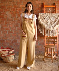 Beige Embroidered Jumpsuit handmade in Egypt & available in Jozee boutique