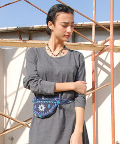 Blue Saint Catherine Embroidered Waist Bag made in Egypt & available in Jozee boutique