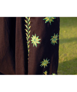 Black Saint Catherine embroidered harem pants handmade in Egypt & available at Jozee boutique