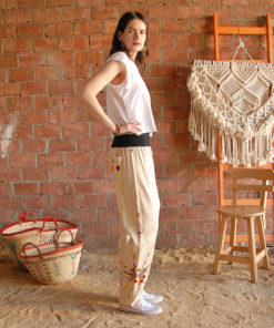 Beige Siwa embroidered harem pants handmade in Egypt & available at Jozee boutique