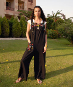 Black Siwa Embroidered Jumpsuit Handmade in Egypt & available in Jozee boutique