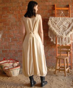Beige sleeveless Siwa embroidered linen dress handmade in Egypt & available at Jozee boutique