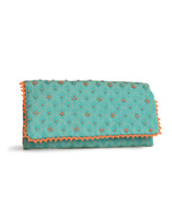 Turquoise Hand embroidered Jewelry Pouch Handmade in Egypt & available in Jozee Boutique