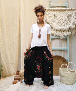 Black Siwa embroidered harem pants handmade & available at Jozee Boutique