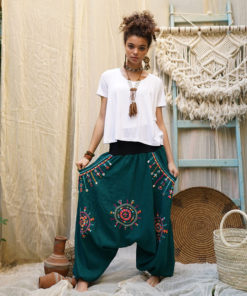 Teal Siwa embroidered harem pants handmade in Egypt & available at Jozee Boutique