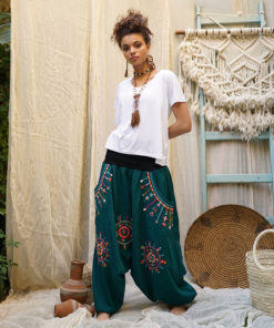 Teal Siwa embroidered harem pants handmade & available at Jozee Boutique