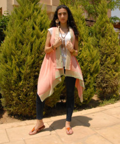 Saumon Handwoven Egyptian Cotton Short Cardigan Handmade in Egypt & available in Jozee boutique
