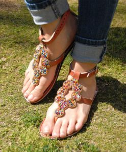 Multicolored Golden Rainbow Circles Handmade Kenyan Sandals Handmade in Kenya available in Jozee boutique