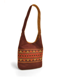 Reddish Brown Sinai embroidered Crossbag Handmade in Egypt & available in Jozee Boutique